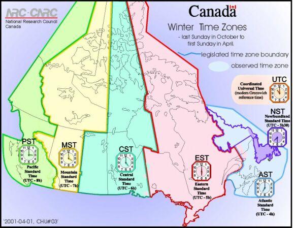 Canadian timezones for dummies