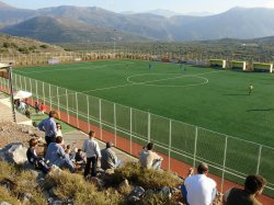 Soccer match amidst the beauty of Crete