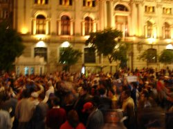 The crowd in Aliados square celebrating the soccer match