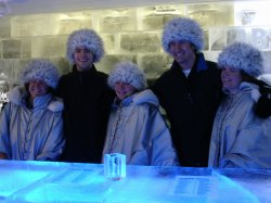 Some cool kids chilling at the Ice Bar.