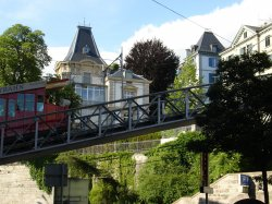 A funicular up one of the hills in Switzerland